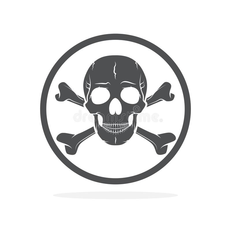Skull And Crossbones, Warning Icon  Vector Illustration Stock