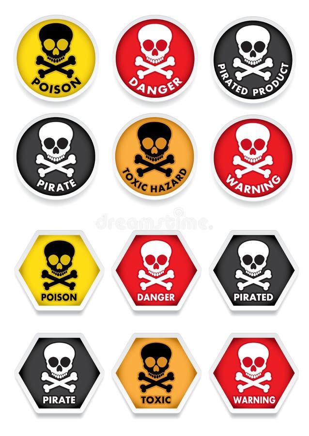 Download Skull & Crossbones Warning Stickers Stock Vector - Image: 24847023