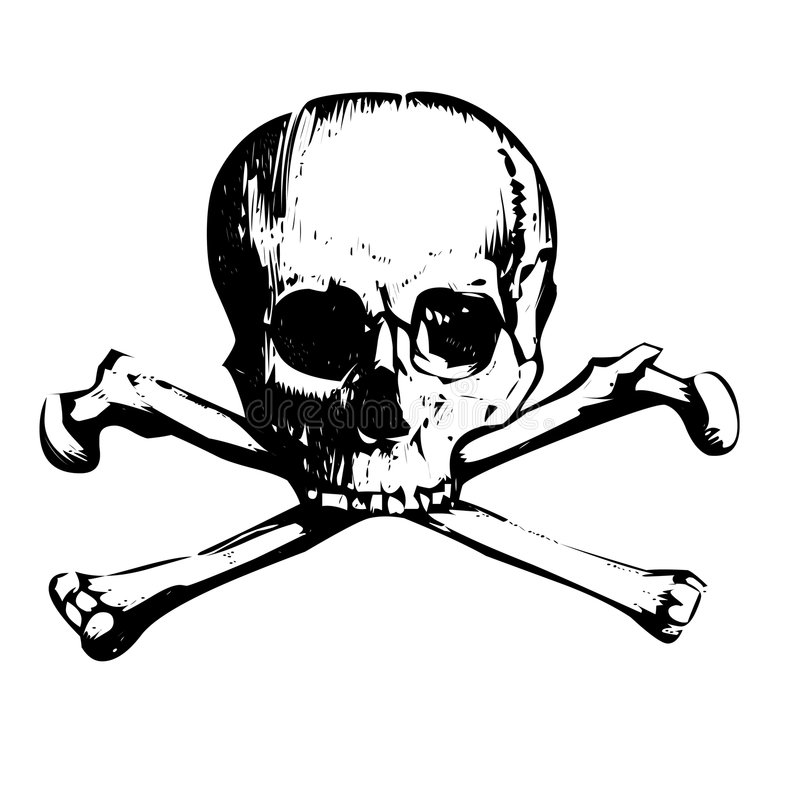 Skull and crossed bones vector. Vectored illustration of skull and crossbones in corsair style with editable vector file available royalty free illustration