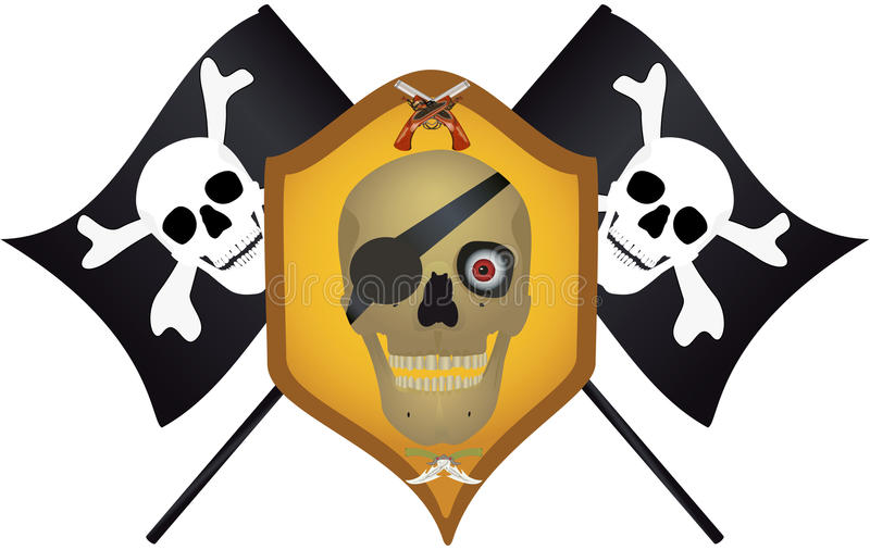 Skull with the crossed pistols and knifes.