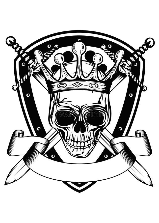 Skull in crown board and crossed swords vector illustration