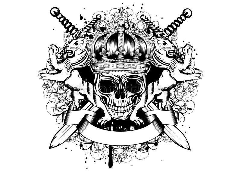 Skull in crown, lions and crossed swords stock illustration