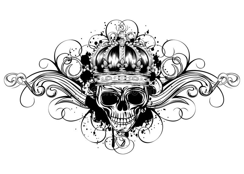 Skull in crown with patterns vector illustration