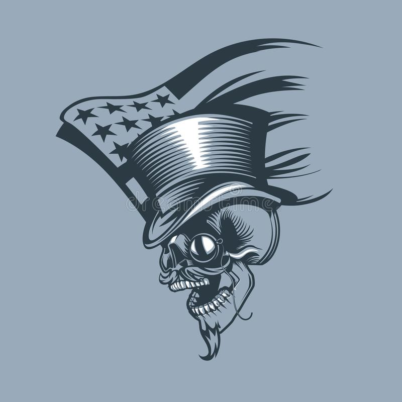 Skull in a Cylinder and pince-nez against the background of a patched US flag royalty free illustration