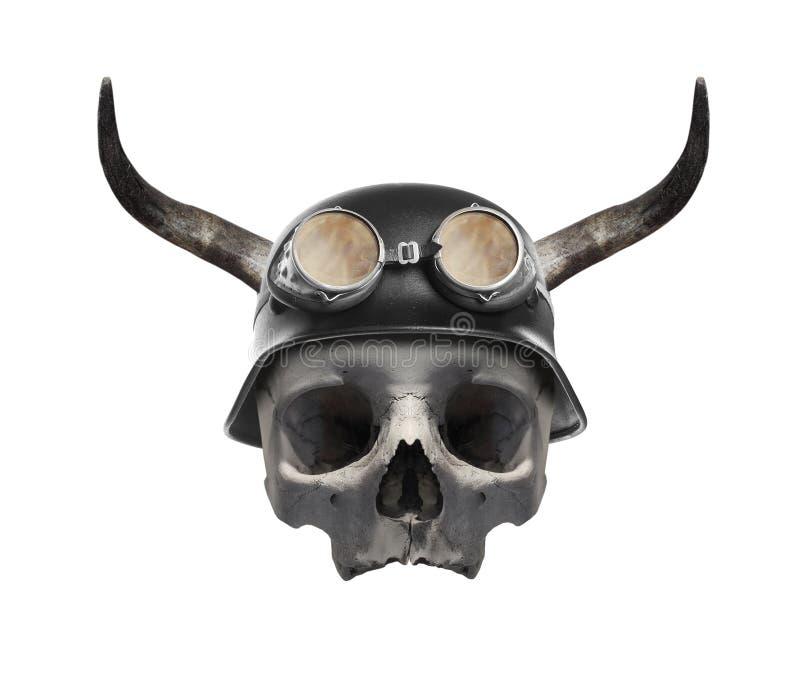 Skull of dead biker. royalty free stock image