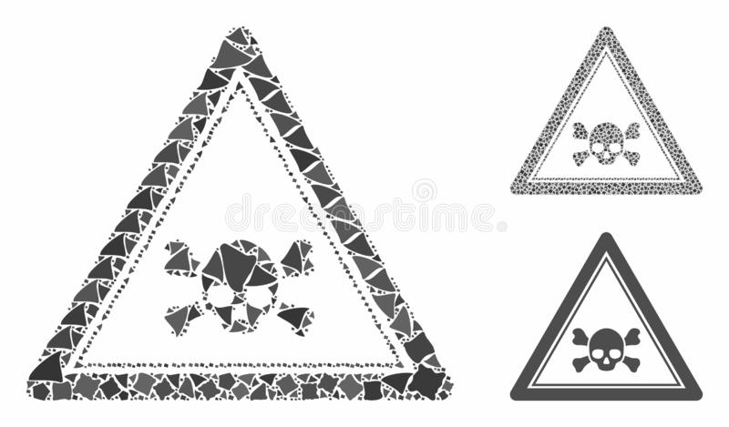 Skull death triangle Mosaic Icon of Abrupt Elements. Skull death triangle mosaic of raggy pieces in different sizes and shades, based on skull death triangle vector illustration