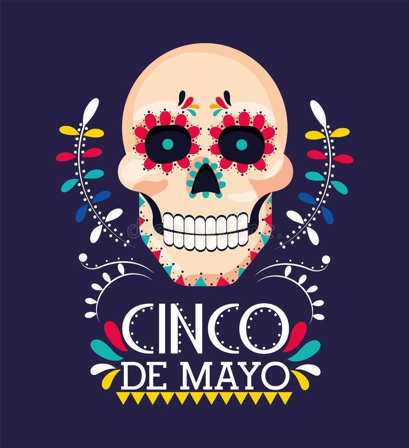 Skull decoration to mexican event celebration stock illustration