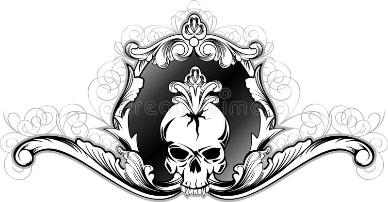 Skull in decorative frame. Vector illustration skull in decorative frame vector illustration