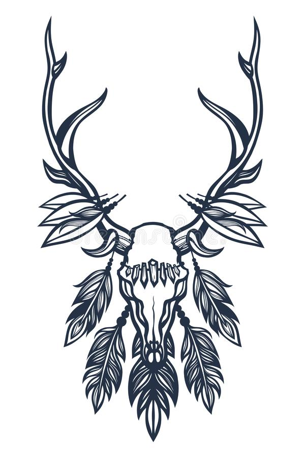 Skull of the deer with antlers, feathers and crystals. Boho, ethnic, tribal. Tattoo art. Hand drawn. vector illustration
