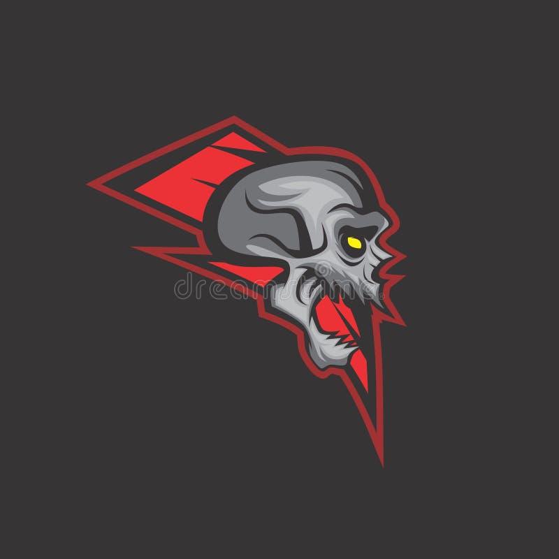 Red thunder skull stock illustration