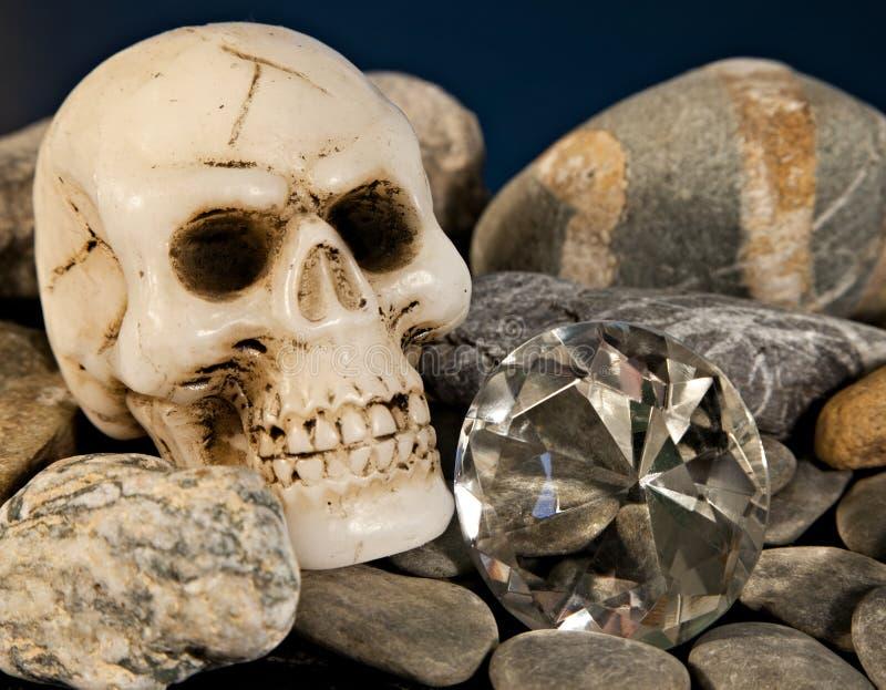Skull and diamond stock photography
