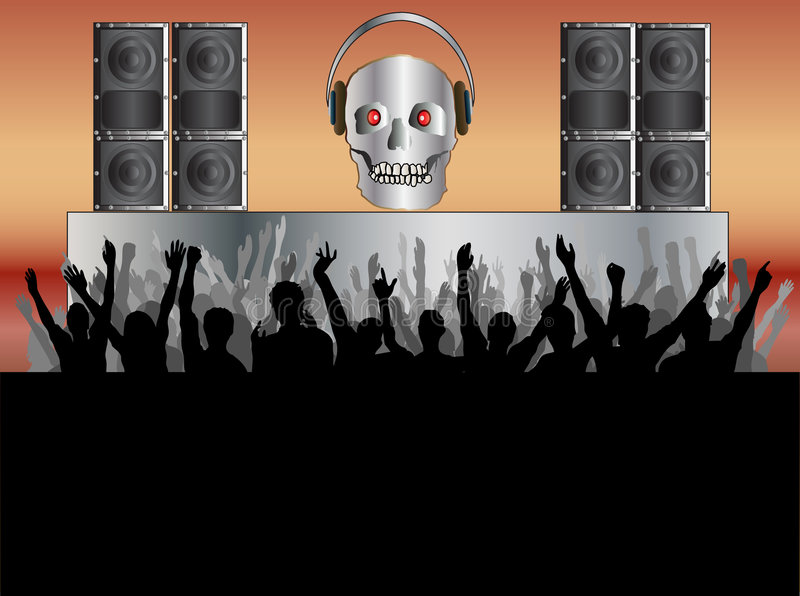 Skull Disco Background stock illustration