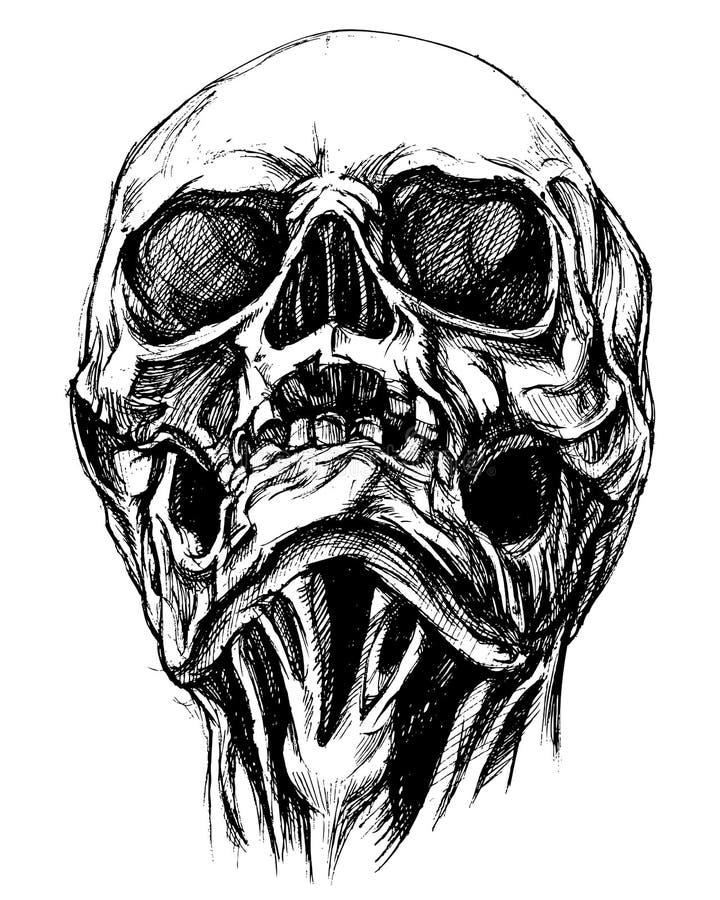 Skull Drawing line work vector royalty free illustration