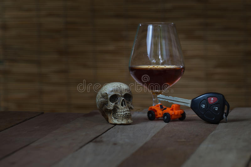 Skull and Drinking Don't Driving Still Life. Skull and Drinking Do not Driving Still Life stock image