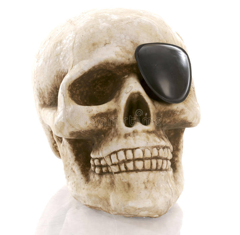 Skull with eye patch stock image