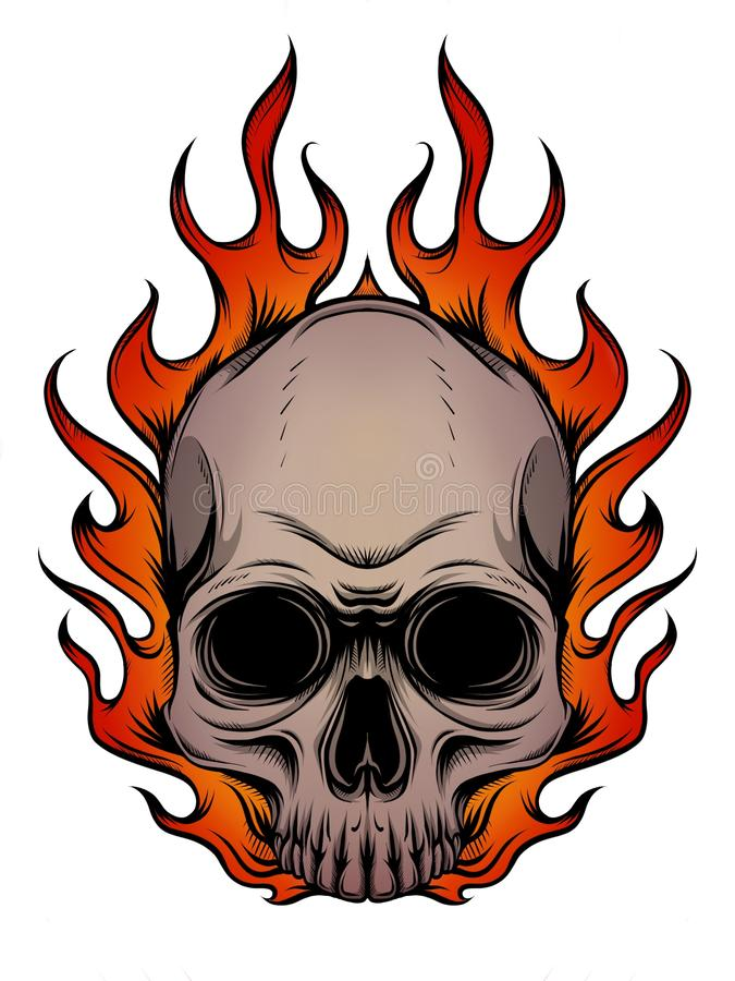Skull on Fire with Flames Illustration in white background. Skull on Fire Flames Illustration royalty free illustration