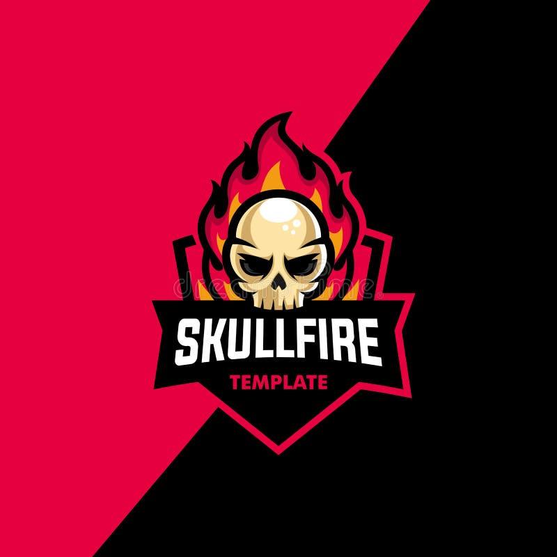 Skull Fire Sport Concept illustration vector Design template royalty free illustration