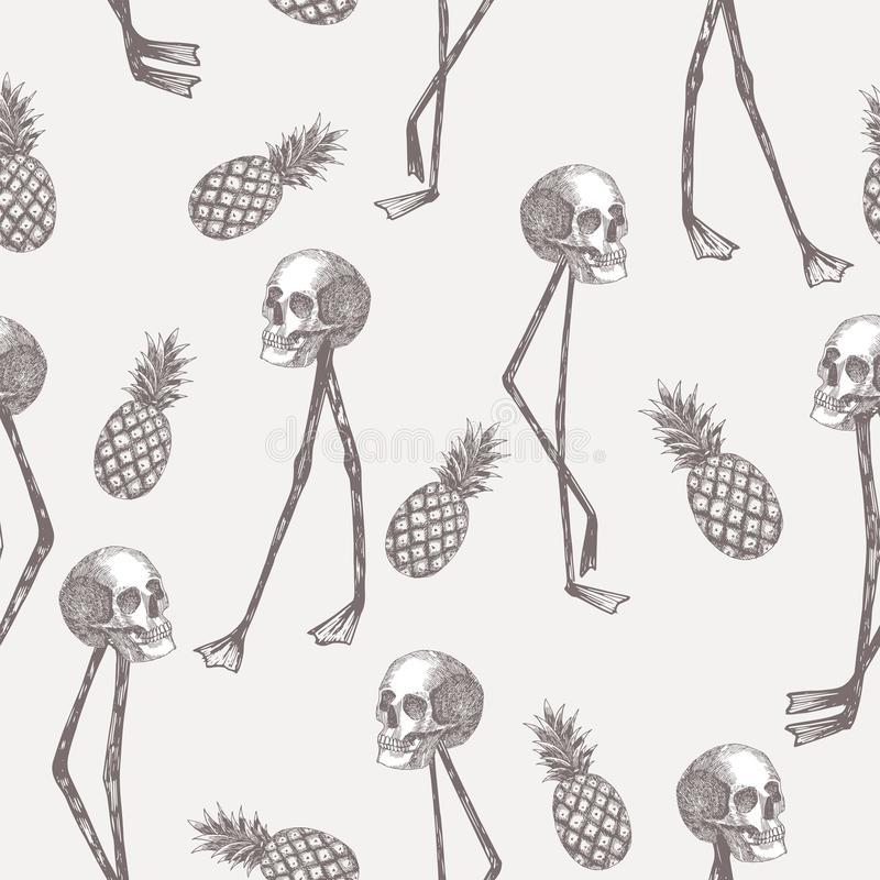 Skull On Flamingo Legs Pineapple In Pencil White Background Stock ...