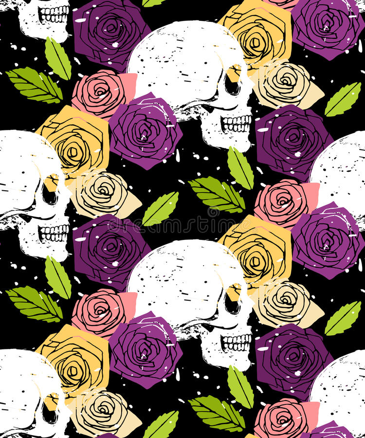 Skull floral seamless background stock illustration