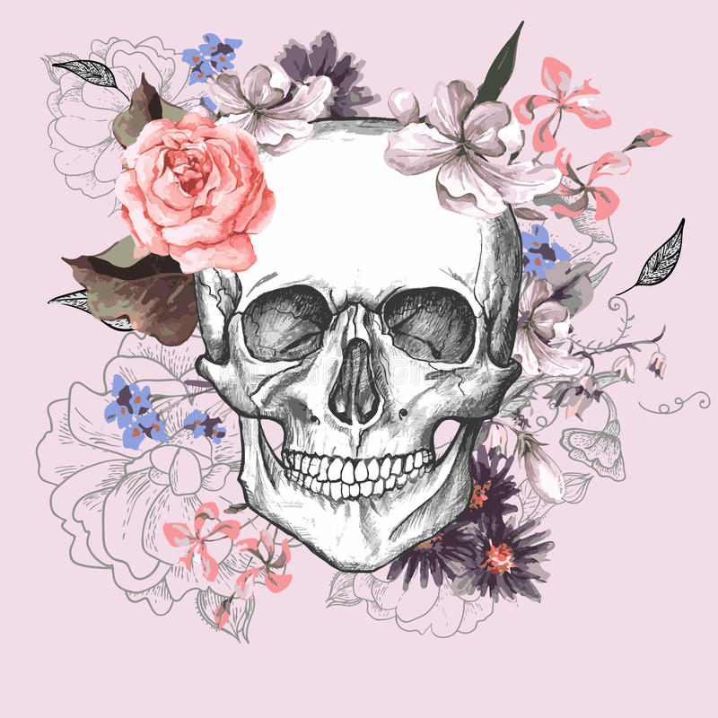 Skull and Flowers Day of The Dead royalty free illustration