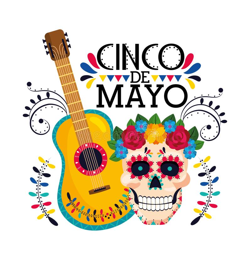 Skull with flowers decoration and mexican guitar royalty free illustration
