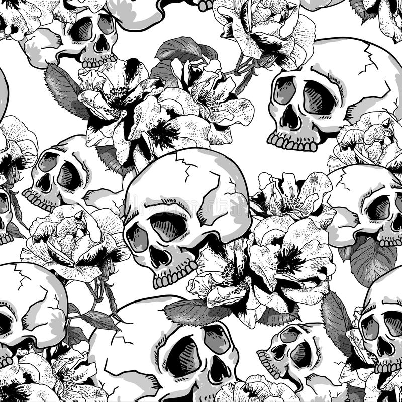 Skull and Flowers Seamless Background stock illustration