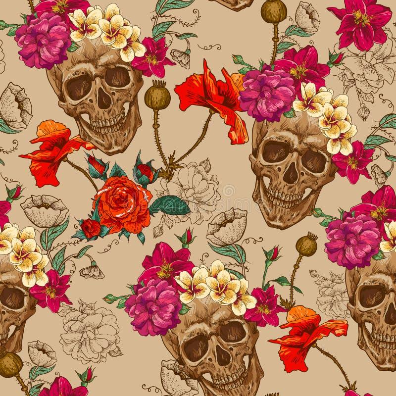 Skull and Flowers Seamless Background stock illustration