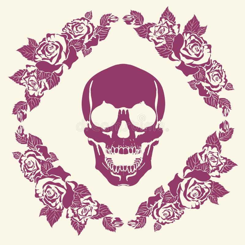 Skull In The Frame Of Roses Stock Vector - Illustration of rose ...