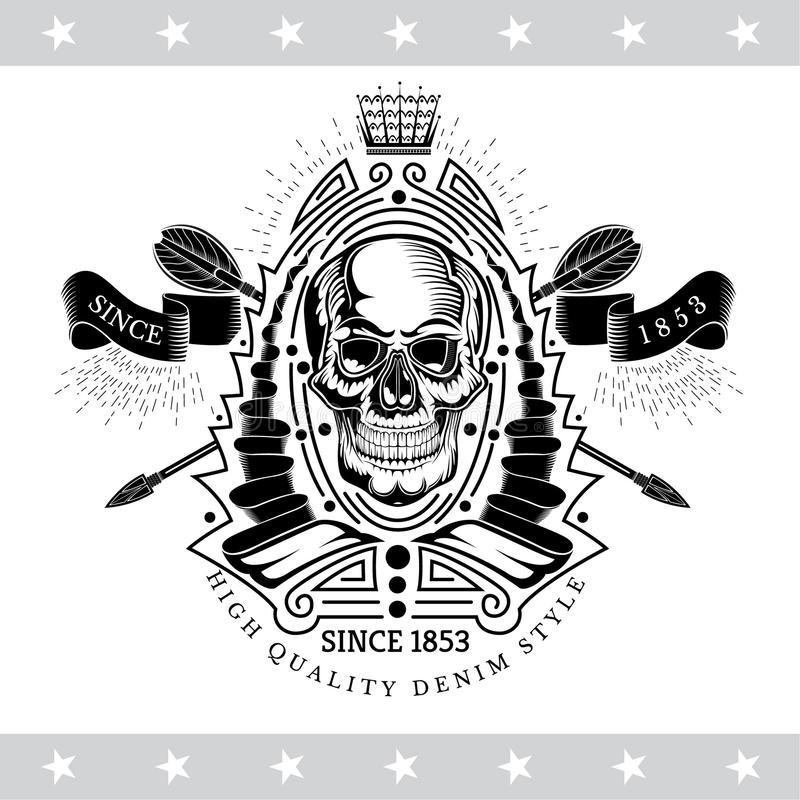 Skull front view in center of winding ribbon patter with cross arrows. Heraldic vintage label isolated. On white royalty free illustration