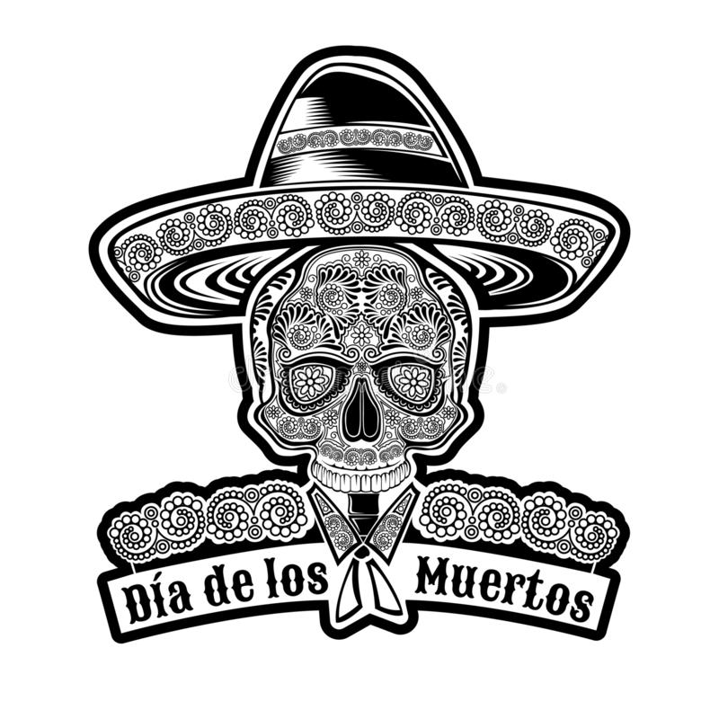 Skull front view with mexican hat and pattern on face symbol of Dia de Muertos holiday. Monochrome illustration isolated vector illustration