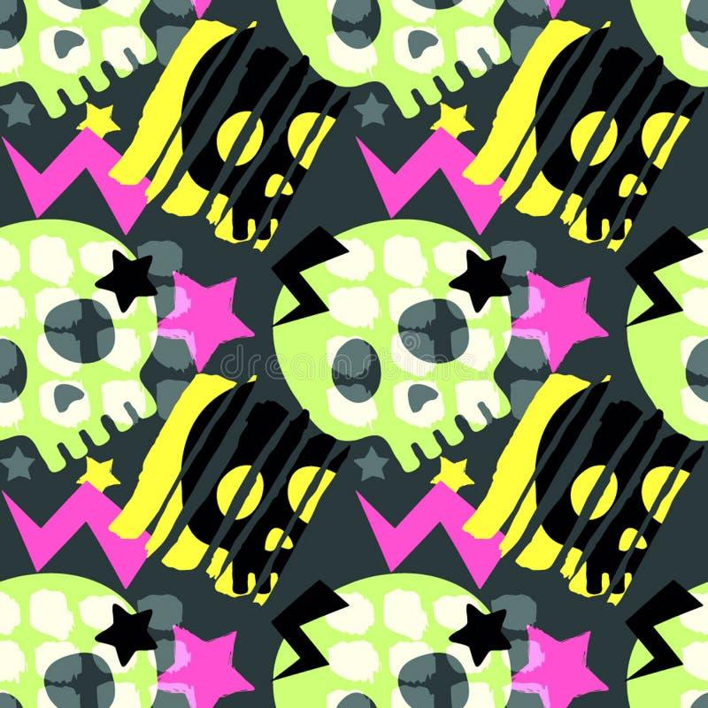 Skull funky seamless rough grunge pattern, modern design template. vector illustration