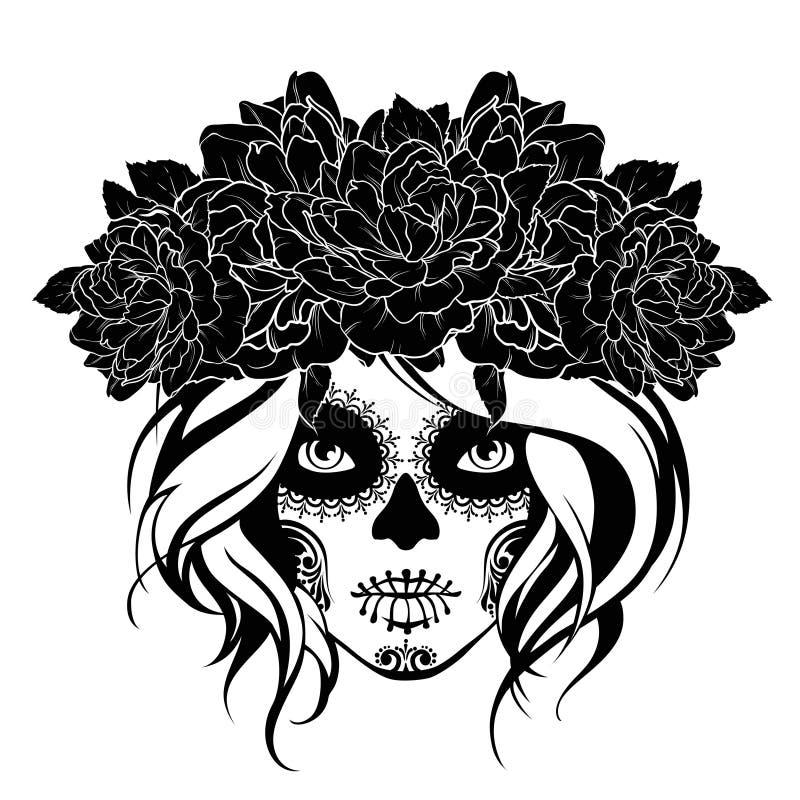 Skull girl in a flower wreath. Black and white illustration. vector illustration
