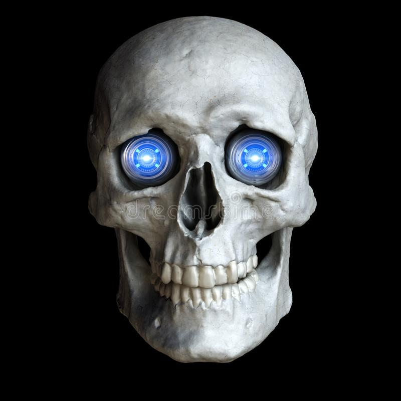 Skull with glowing cyber eyes royalty free illustration