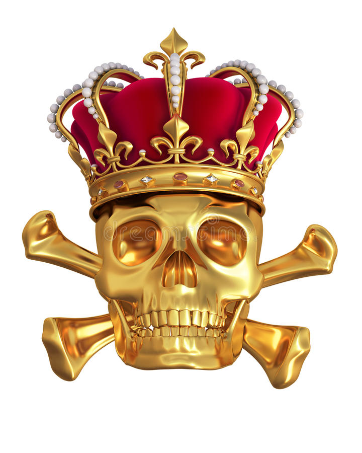 Skull in a gold crown stock illustration
