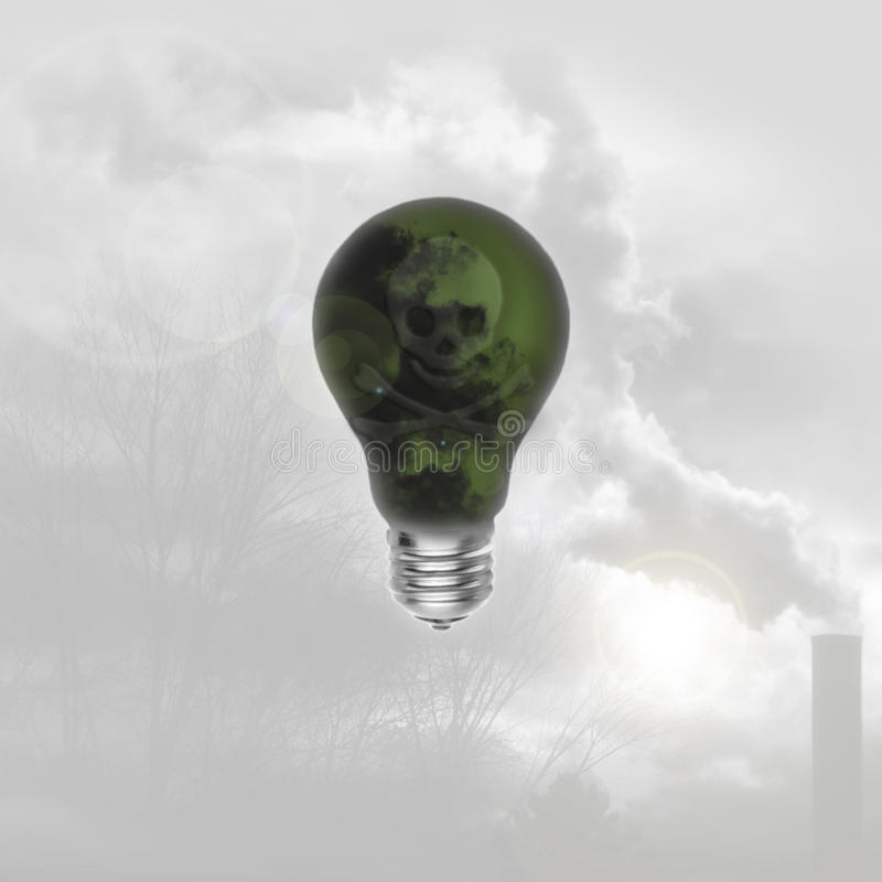 Skull on a green lightbulb. The skull on the lightbulb symbolizes ideas, solutions bad omens, and raising awareness about green energy and pollution royalty free stock photography