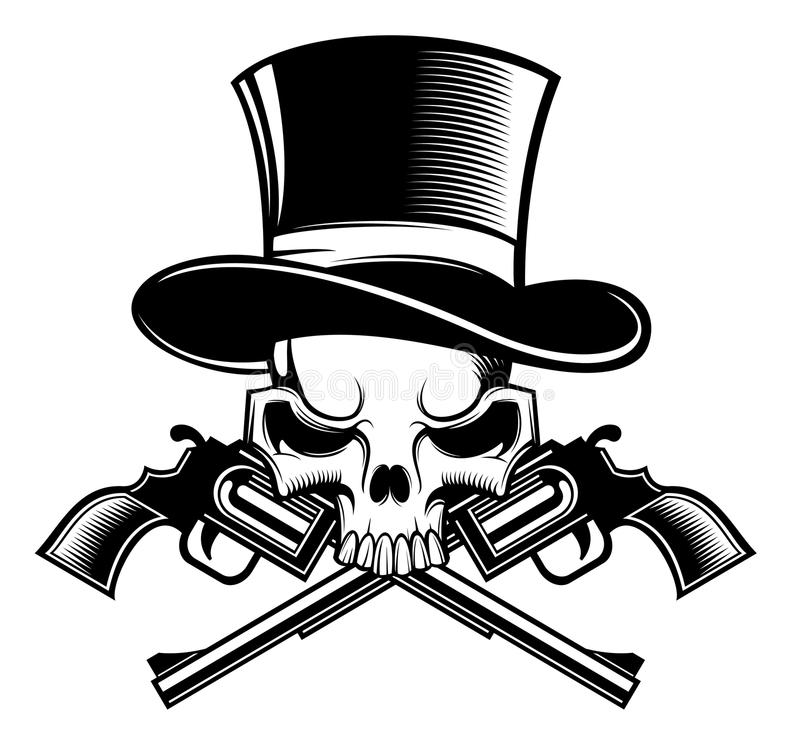 Skull and guns royalty free illustration