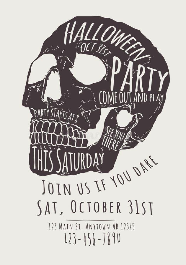 Skull Halloween Party Invitation Flyer. Vector Halloween Party Invitation with hand drawn skull stock illustration