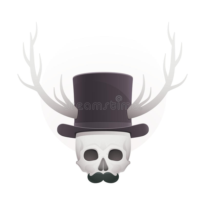 Download Skull In With Horns And A Mustache Stock Vector - Illustration: 30081985