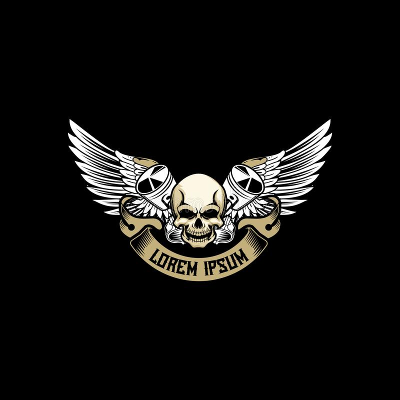 Skull head with cross piston with wing vector for automotive or motorcycle club logo badge template. Good for printing used automotive club and car repain vector illustration