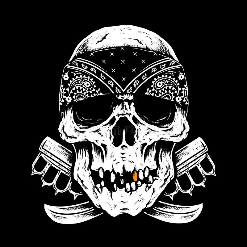 Skull hardcore,sketchlines balck and white. Skull head,with drqwing lines black and color white