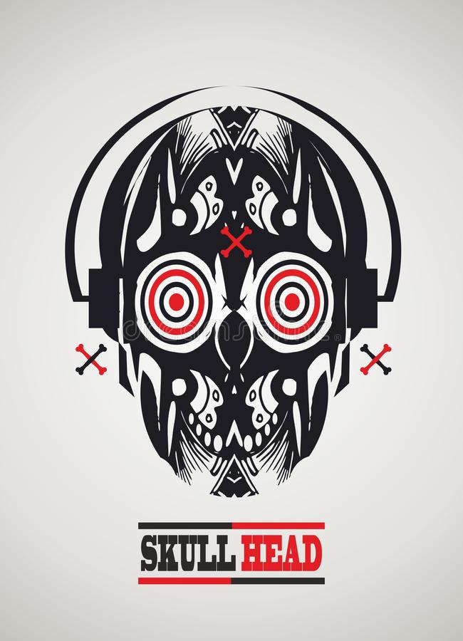 Download Skull-head with headphones stock illustration. Image of pattern - 28919064