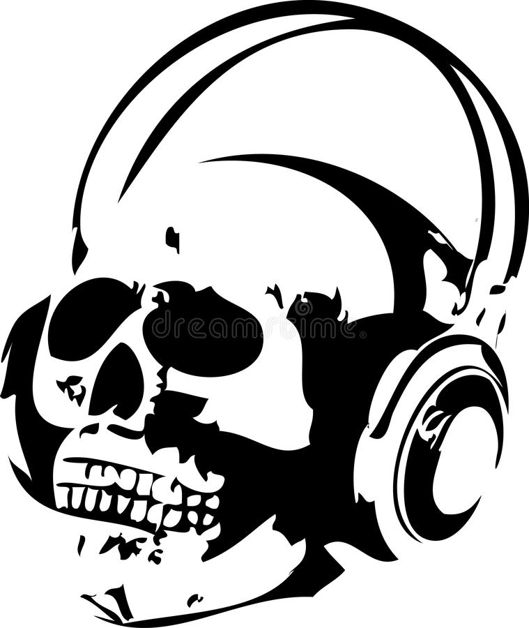 Skull And Headphones Free Stock Photography