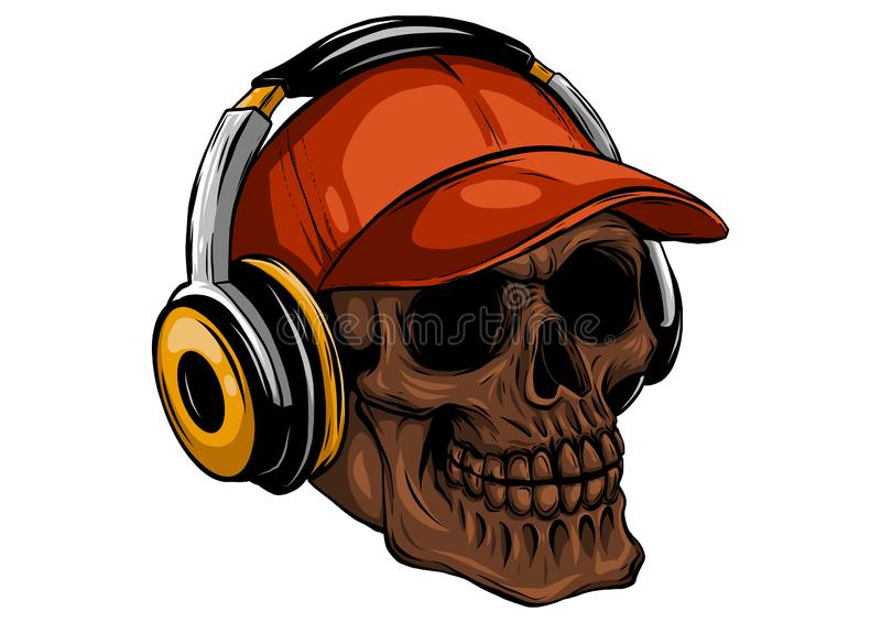Skull with headphones listening to music drawing. Skull with headphones listening to music vector illustration