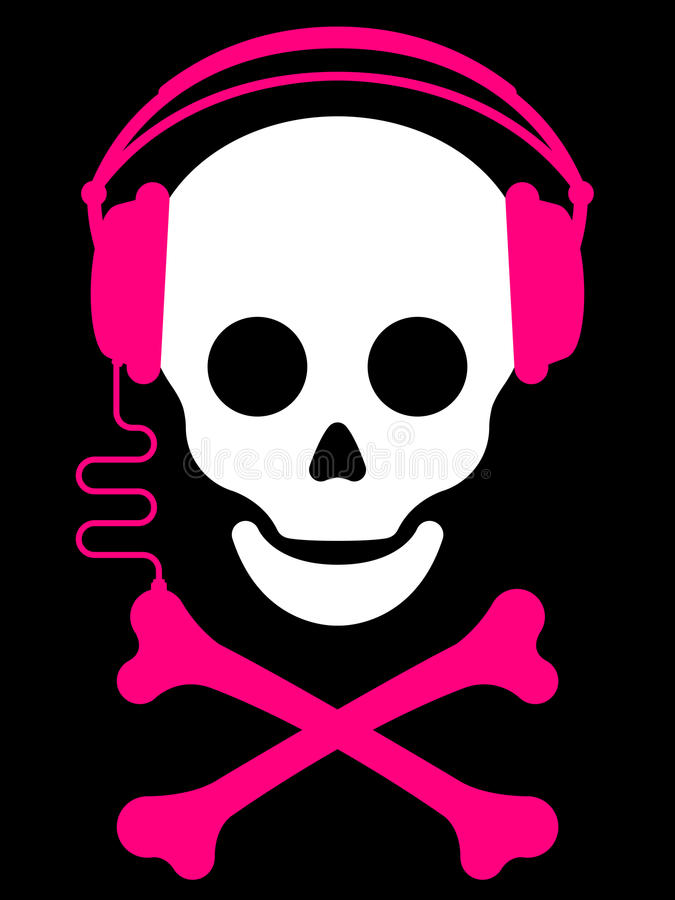 Skull with with headphones music pl vector illustration