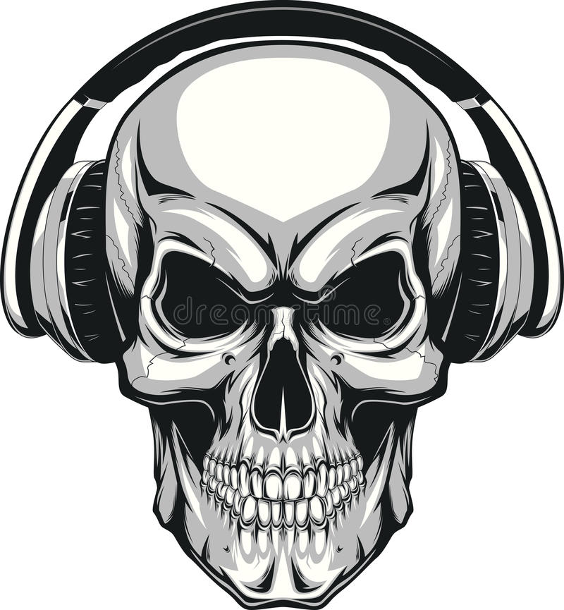 Skull with headphones royalty free illustration