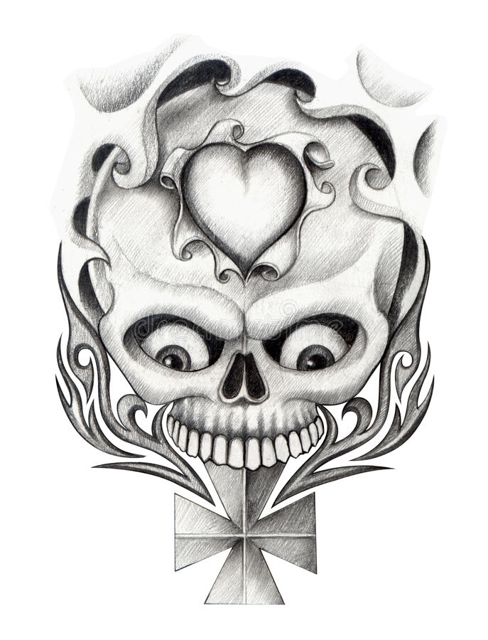 skull heart cross art tattoo stock illustration illustration of graphic dead 55355080. Black Bedroom Furniture Sets. Home Design Ideas
