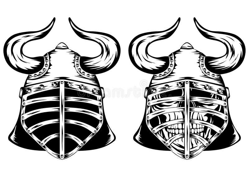 Download Skull in helmet with horns stock vector. Illustration of grunge - 42232697