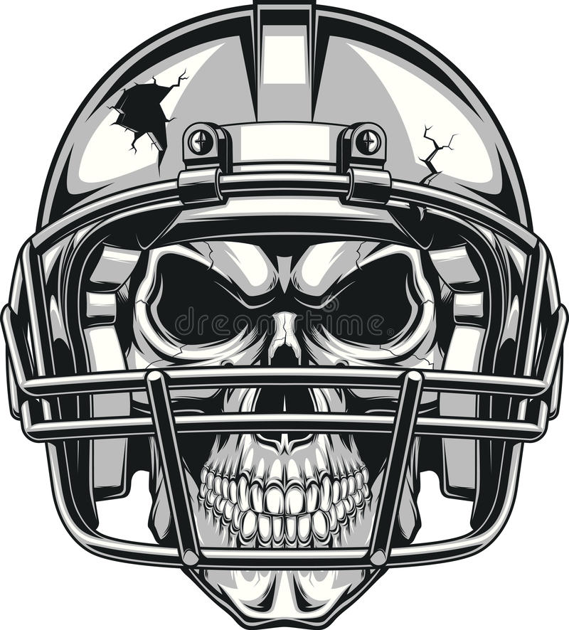 Skull in helmet royalty free illustration