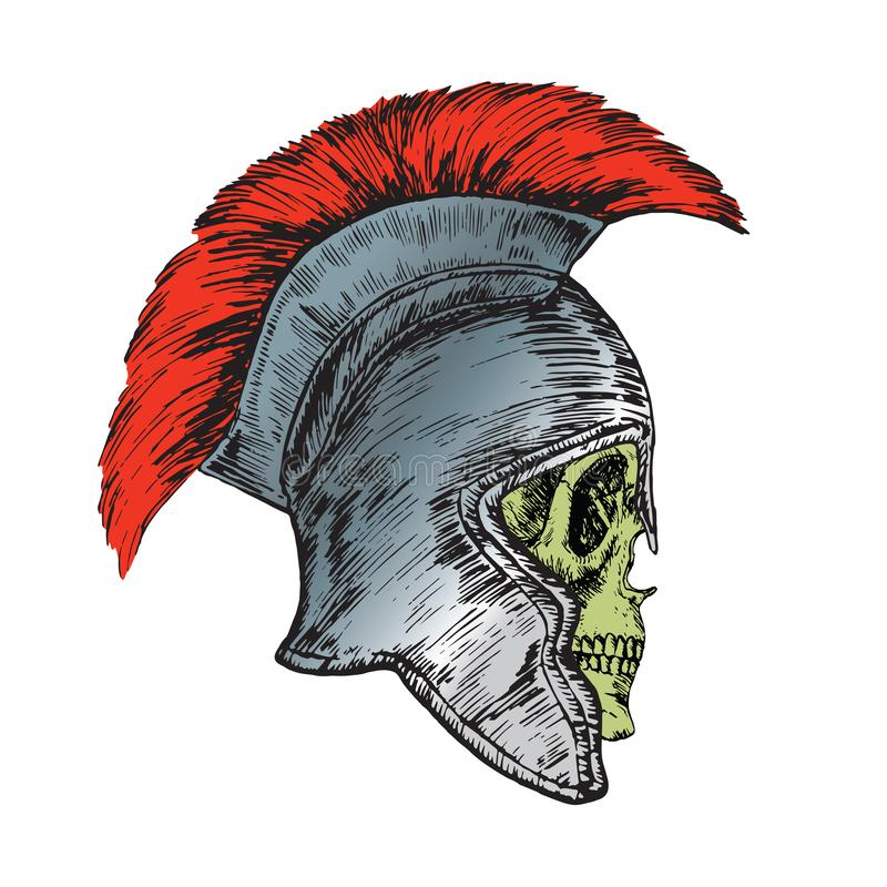 Skull in helmet of the Roman Legionnaire, hand drawn doodle, sketch in woodcut style. Color illustration stock illustration