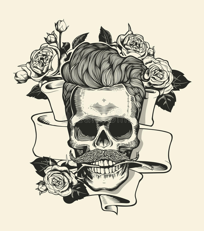 Skull. Hipster skull silhouette with mustache and arose in teeth with ribbon and bouquet of roses on a background. Vector stock illustration